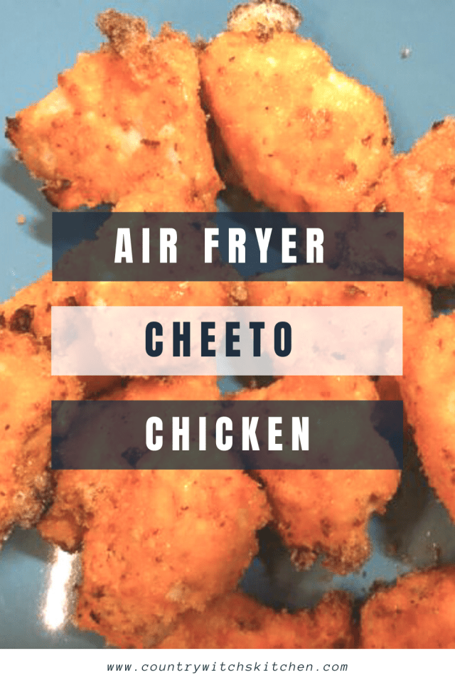 This deliciously cheesy cheeto coated chicken cooks in just minutes in the air fryer for a quick and easy weeknight dinner that kids will love. #cheetochicken #picklebrine #chickennuggets #airfryerchicken