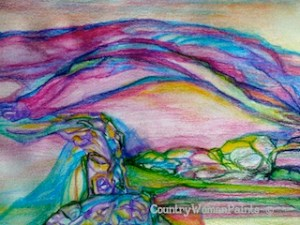 Rocky Cliffs, Smooth Valley-watercolor painting