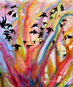 Blackbirds Rainbow-watercolor