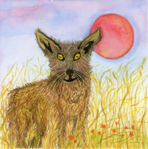 mixed media gouache painting coyote in fields