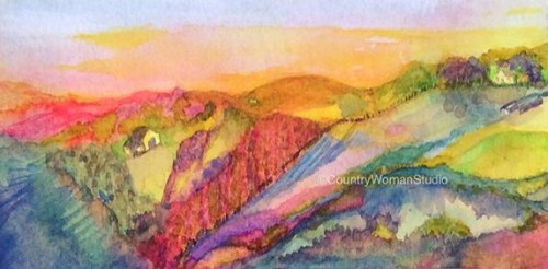 HEADLANDS AT SUNSET gouache on paper-painting