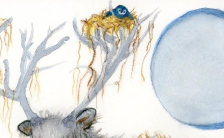 """""""STAG + BLUEBIRD STROLL"""" gouache watercolor painting by l.adelaide scott, artist."""