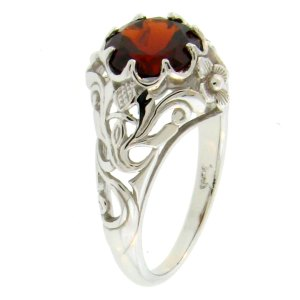 Garnet Thistle Ring