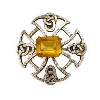 Sterling Celtic Cross Citrine Kilt Pin