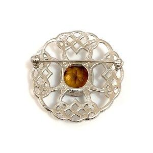 Celtic Cross Citrine Kilt Pin