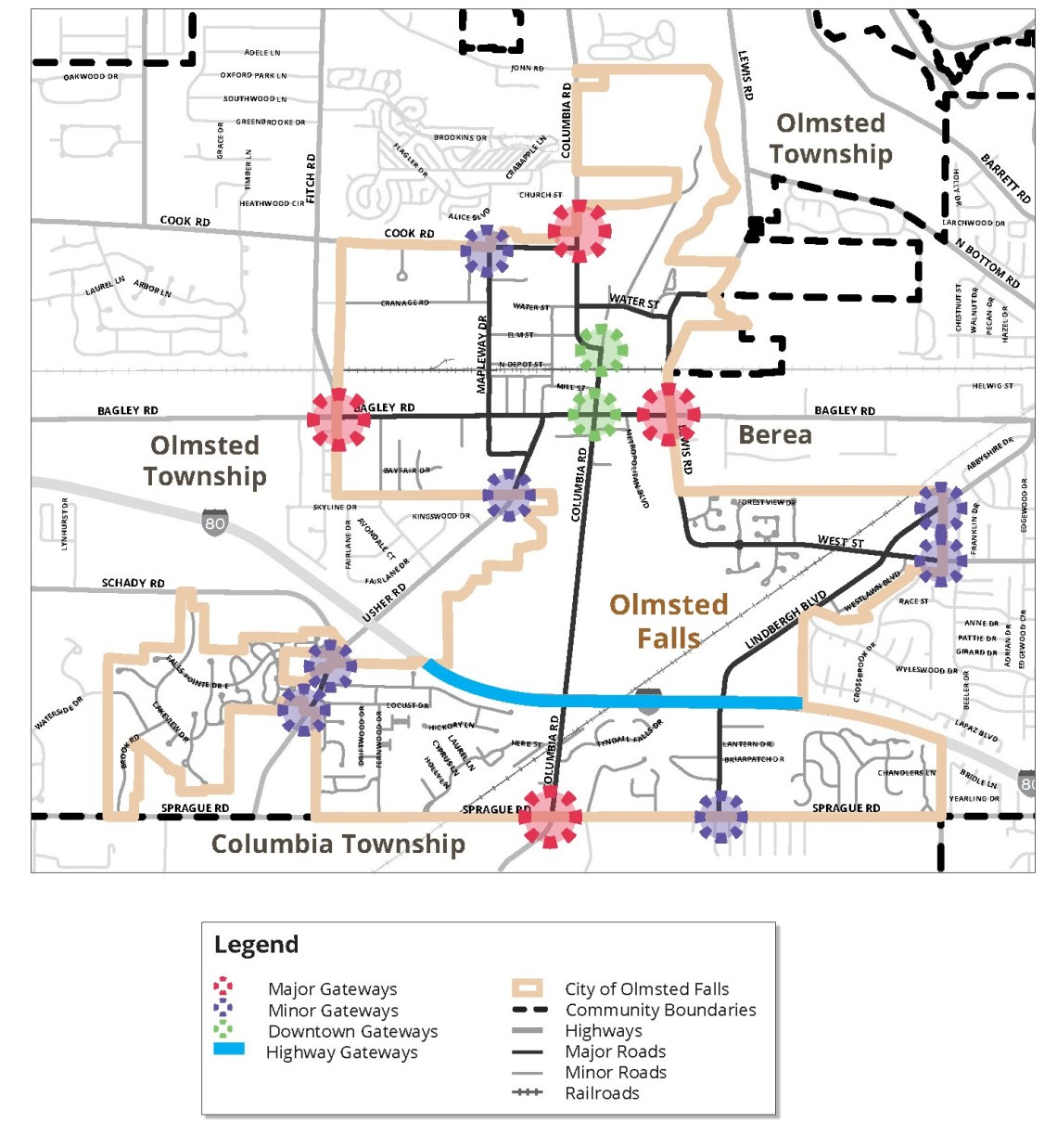 Map of Olmsted Falls Gateways