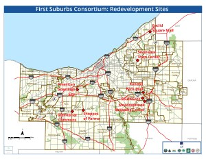 map of redevelopment sites