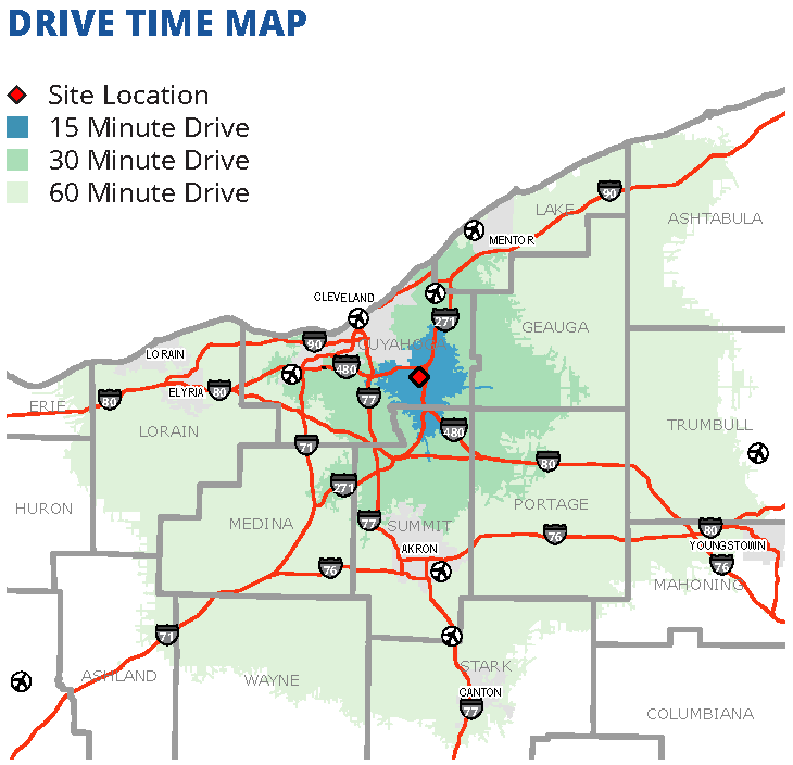 Meadowbrook drive time map