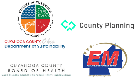 Logos for Cuyahoga County Department of Sustainability, Planning Commission, Emergency Management, and Board of Health