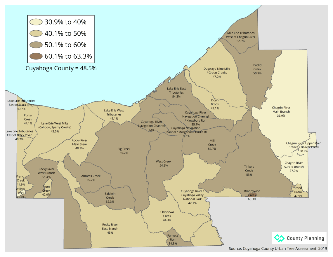 map of possible tree canopy by watershed