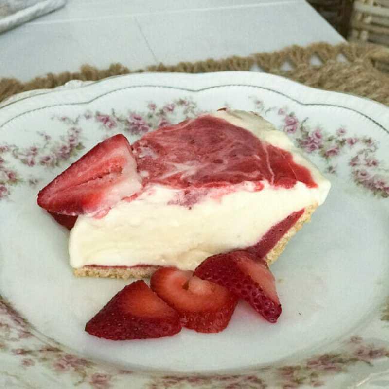 one slice of pie with extra strawberry's