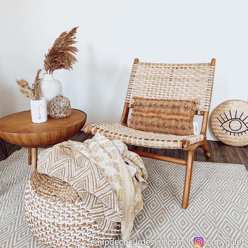 fauteuil bas en rotin et bois de teck bloomingville casi reference cd chl14a