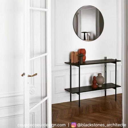 console meuble en bois et metal noir 2 etageres chani reference cd me46a