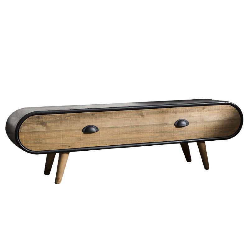 meuble tv style industriel bois et metal warm reference cd tv60a