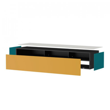 meuble tv suspendu en bois naturel et porte en verre noir infrarouge loft reference cd tv72b 02