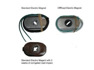 Damaged Electric magnet caused by rough dirt roads.