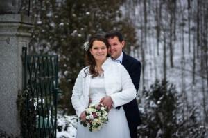 zimní svatba katka michal orlík portrét přehrada