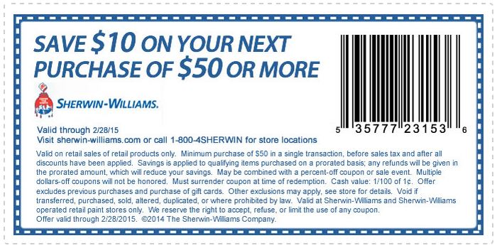 Printable Sherwin Williams Com Coupon Get 10 Off 50 Or More