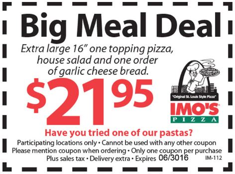 Printable Imospizza.com Coupon: Get an Extra Large Pizza, Salad, and Garlic Cheese Bread for $21.95