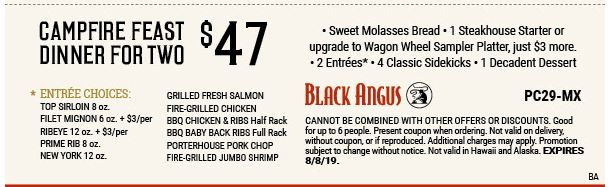 Printable Black Angus Steakhouse Coupon: Campfire Feast Dinner for 2 only $47