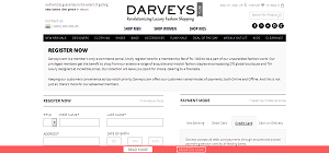 Darveys.com Create New Customer Account