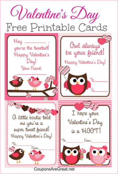 Free Printable Valentines Day Cards For Kids With Owls