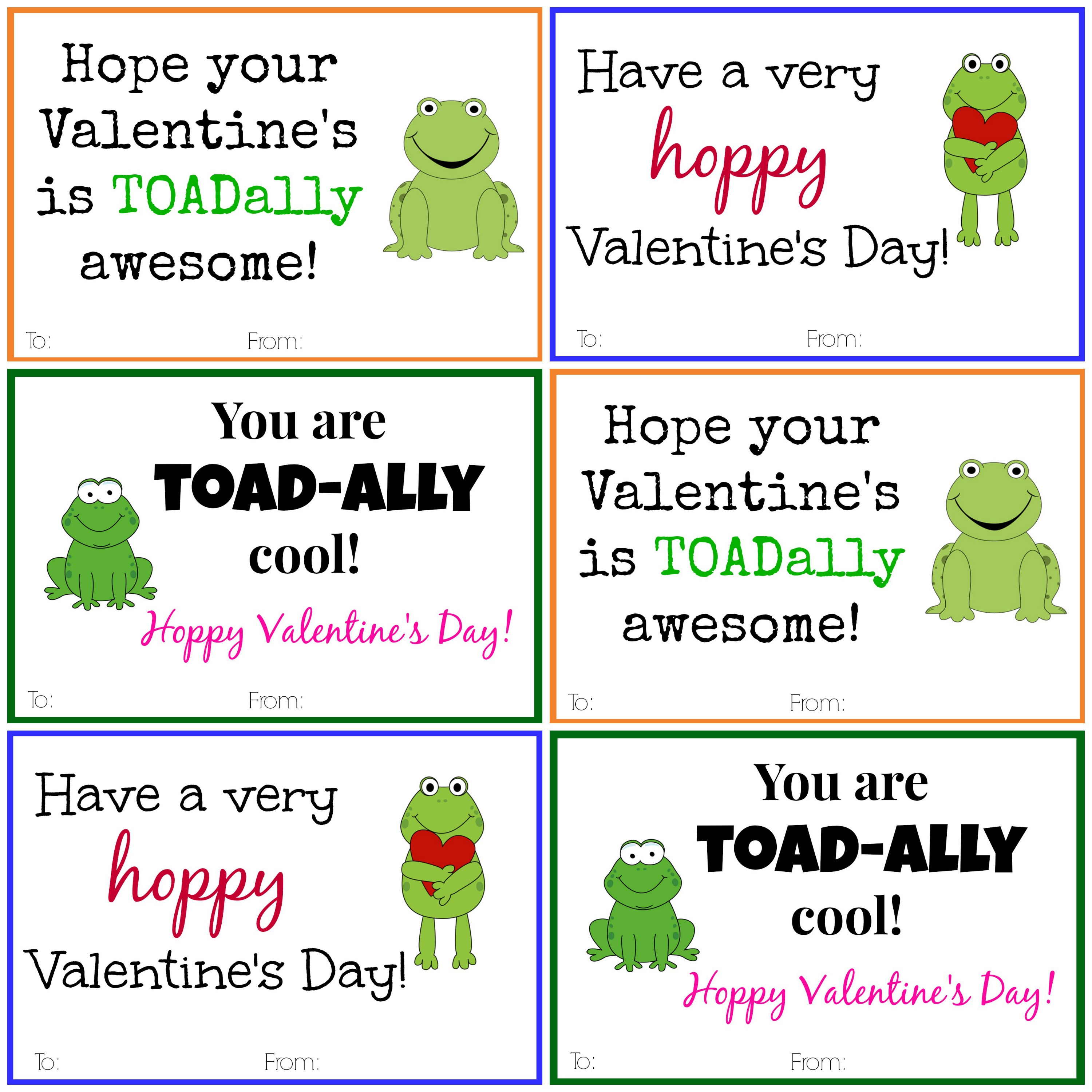 Frog Valentine Cards Diy Printable Valentine Cards