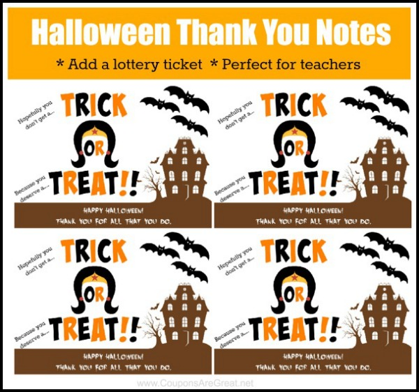 Printable Halloween Thank You Note Perfect For Teacher