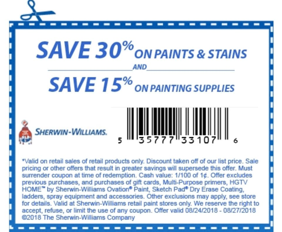 Sherwin Williams Sales 30 Off And 10 Off 50 Coupon