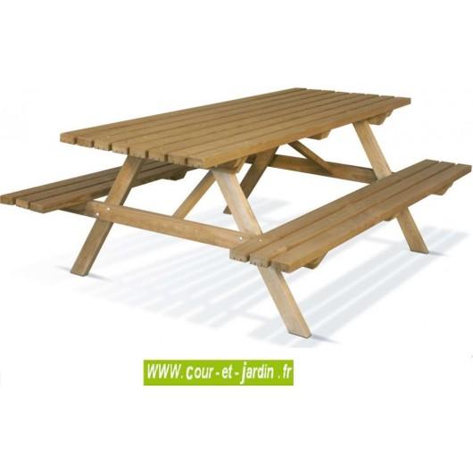 table pique nique bois 200 de 6 places table avec banc s