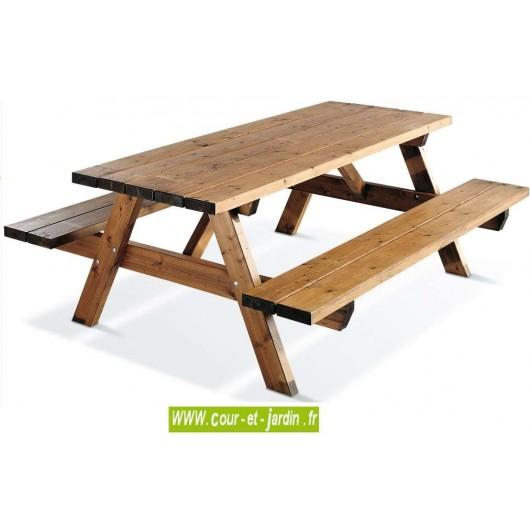 table pique nique bois garden 200b 6 places table forestiere