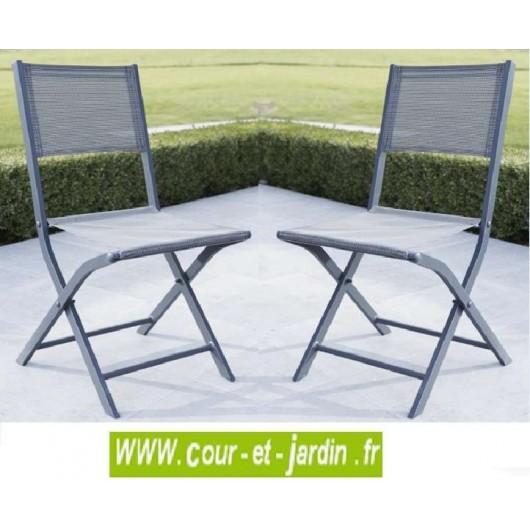 lot 2 chaises pliantes modulo grise alu textilene