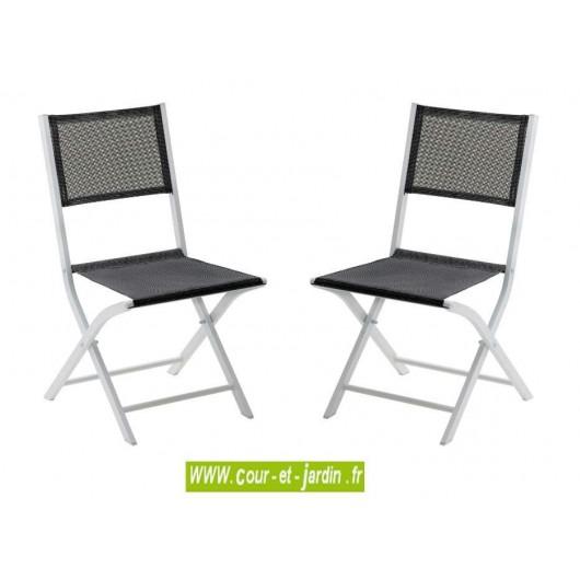 lot 2 chaises pliantes modulo gris perle alu textilene