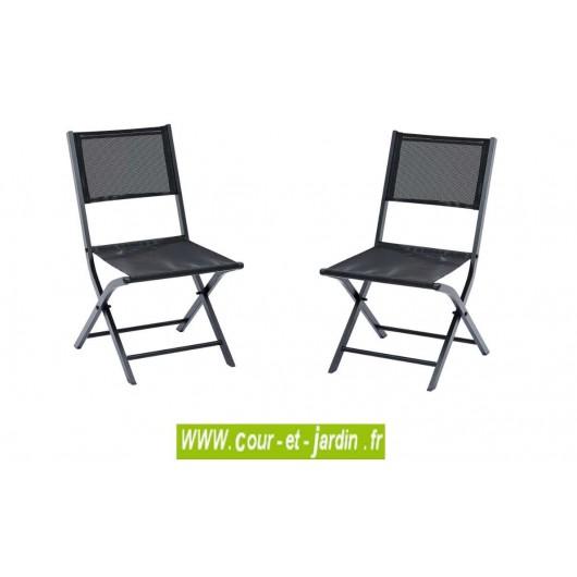 lot 2 chaises pliantes modulo noire alu textilene