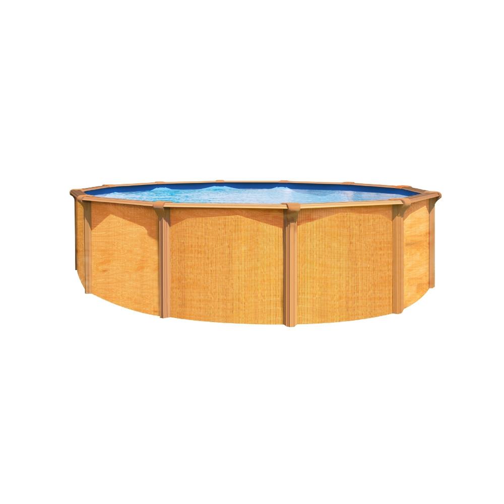 piscine ronde aspect bois 12 m cour