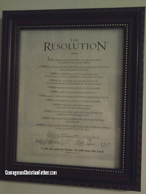 The Resolution - Steve Patterson's signed resolution on the wall with his family pictures. (Courageous Pledge)