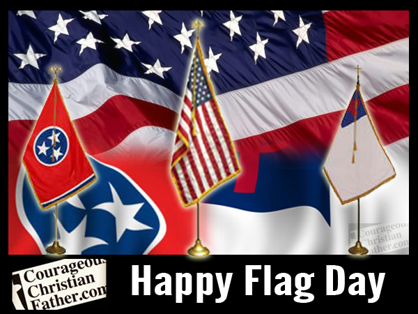 American, Tennessee & Christian Flags