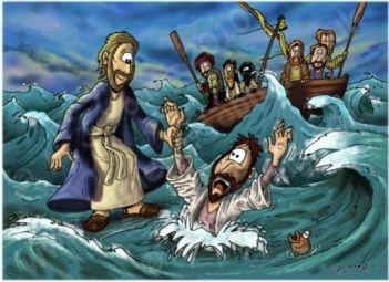 Walks on Water image by biblecartoons.co.uk