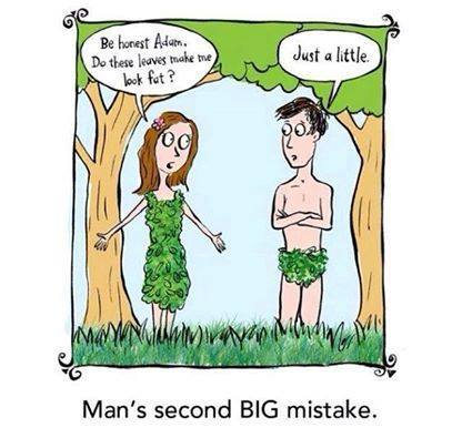 Adam & Eve Funny Comic - Does this make me look fat, we all have heard this. Here is a Christian comic I find humorous. Eve asked Adam this. Maybe this was man's second BIG mistake?