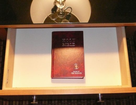 A Gideon Bible where it's often found, in a hotel nightstand.