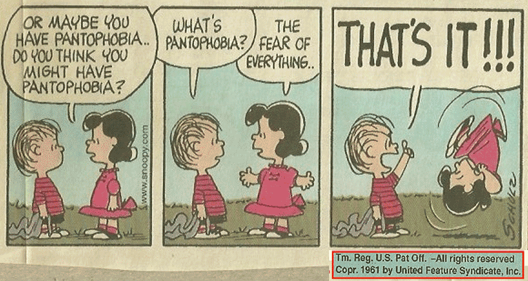 Pantophobia or Panophobia or Omniphobia - Fear of everything - Lucy from the Peanuts shares that is the problem Charlie Brown (In A Charlie Brown Christmas) and Linus (In the comic strips) has.