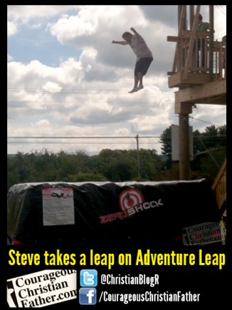 Steve takes a leap on Adventure Leap at Adventure Ranch