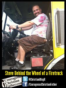 Steve Behind the Wheel of a Firetruck