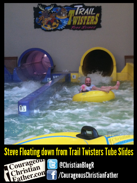 Steve Floating down from Trail Twisters Tube Slides - Steve Floating down from Trail Twisters Tube Slides - The Wilderness at the Smokies