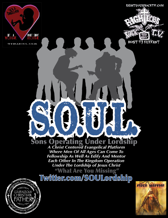 S.O.U.L. flyer with current sponsors - Sons Operating Under Lordship