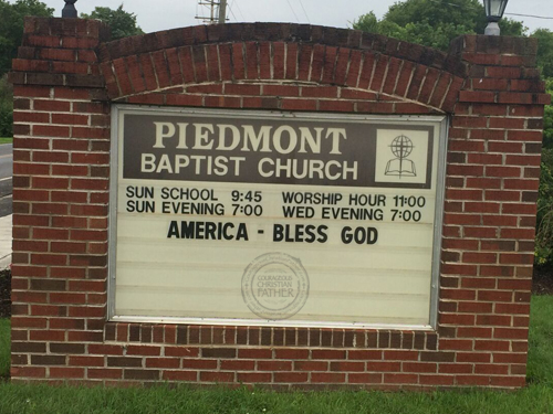 America Bless God Piedmont Baptist Church Sign