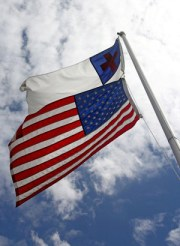 Christian Flag Flown Above American Flag