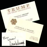 Two Donald Trump Business Cards one autographed