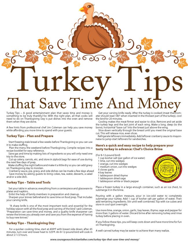 Turkey Tips Printable
