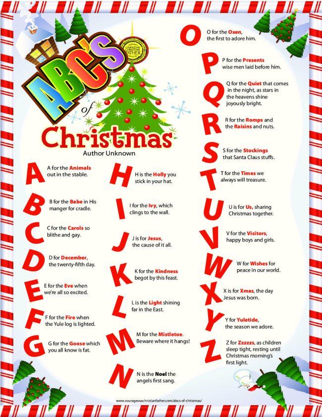 ABC's of Christmas Free Printable